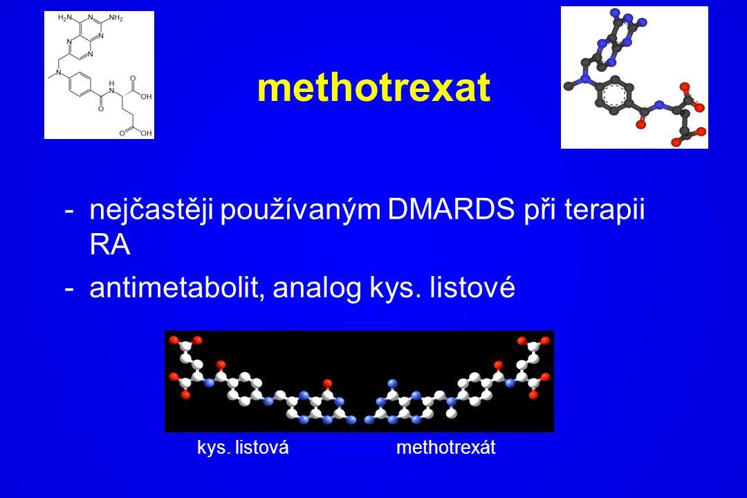 methotrexat nejčastěji používaným DMARDS při terapii RA