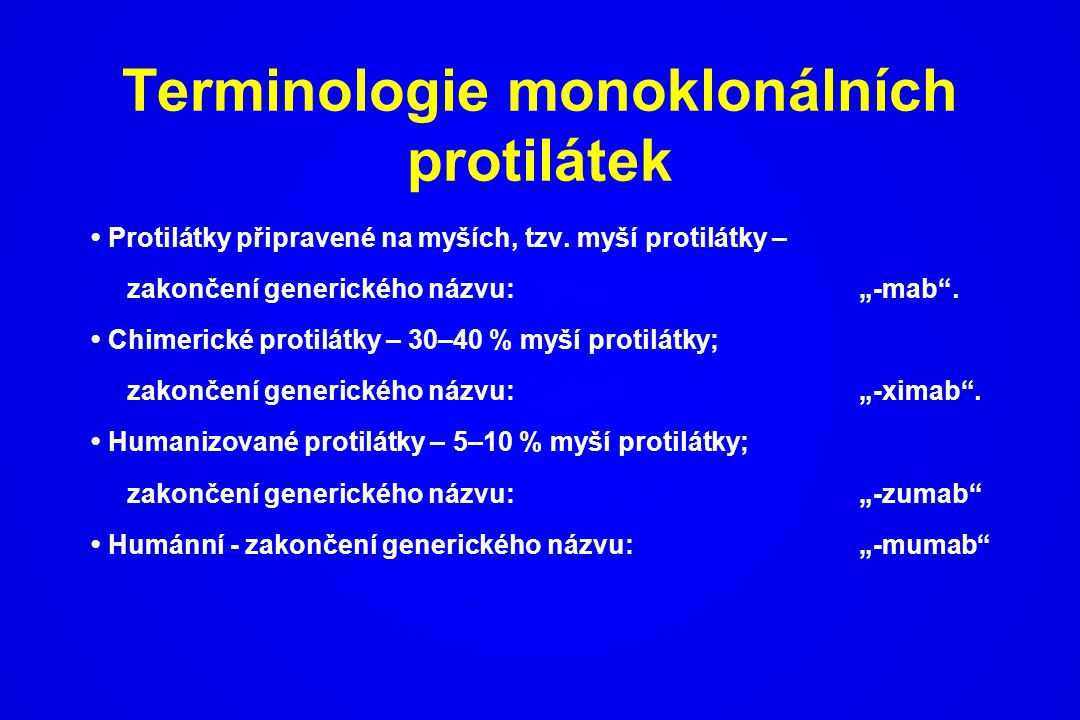 Terminologie monoklonálních protilátek
