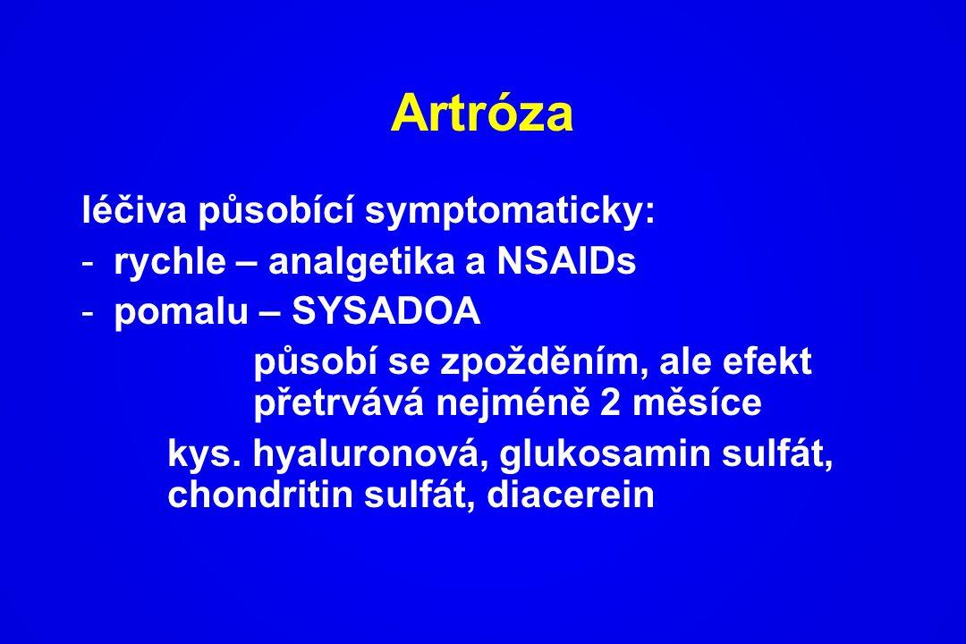 Artróza léčiva působící symptomaticky: rychle – analgetika a NSAIDs