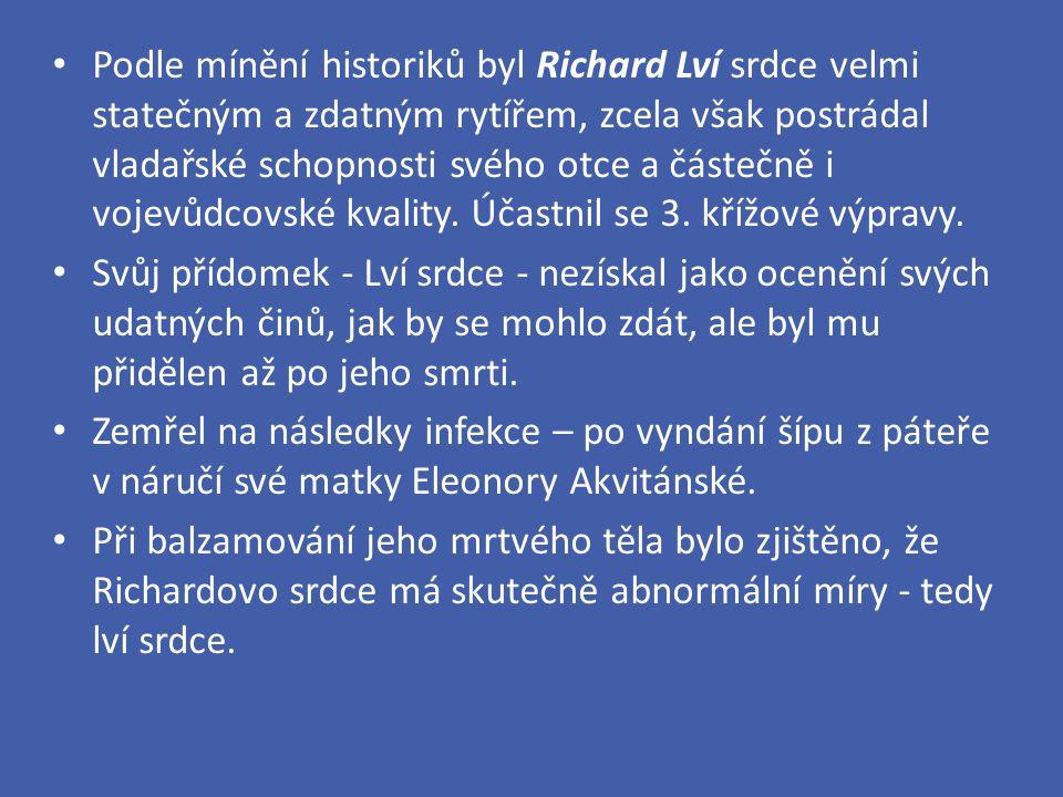 Podle mínění historiků byl Richard Lví srdce velmi statečným a zdatným rytířem, zcela však postrádal vladařské schopnosti svého otce a částečně i vojevůdcovské kvality. Účastnil se 3. křížové výpravy.