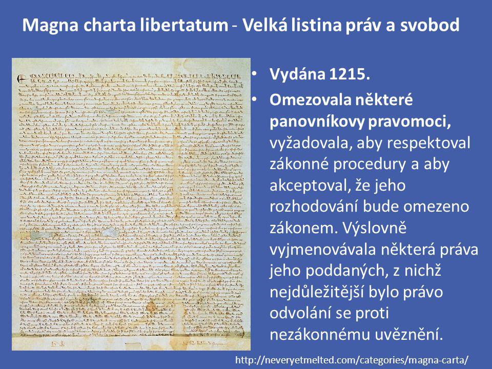 Magna charta libertatum - Velká listina práv a svobod