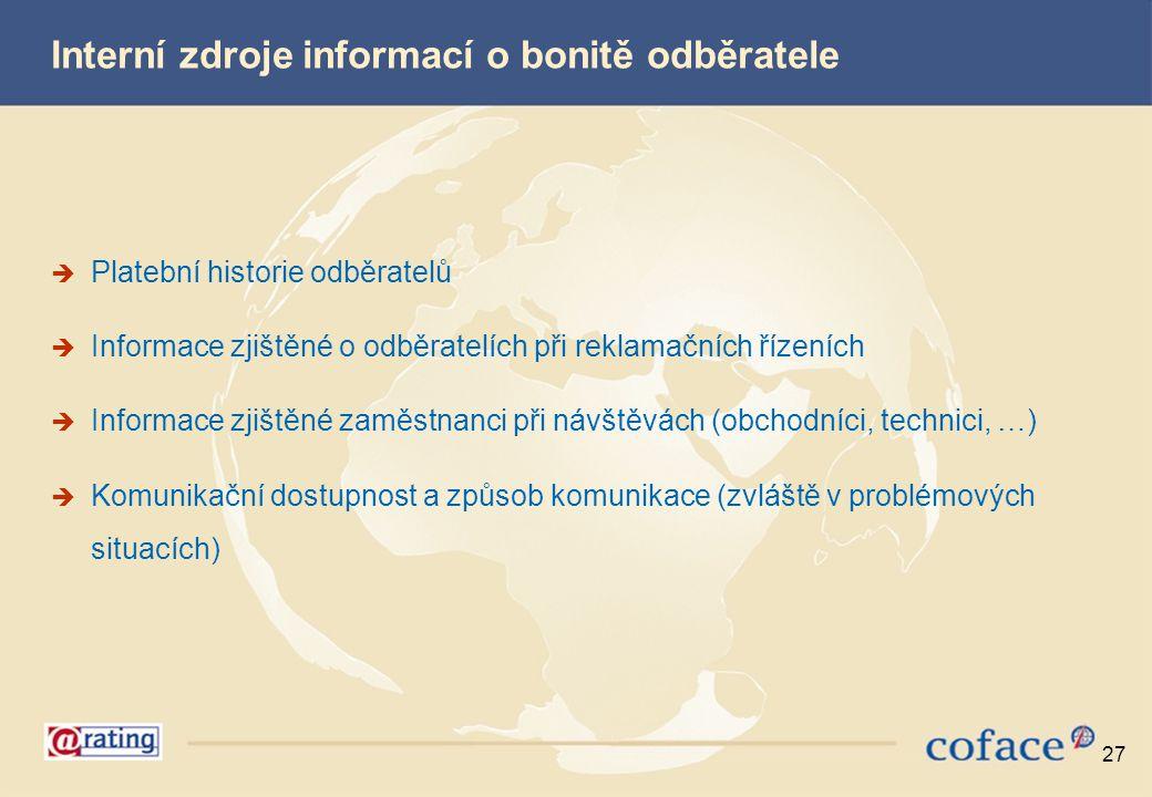 Interní zdroje informací o bonitě odběratele