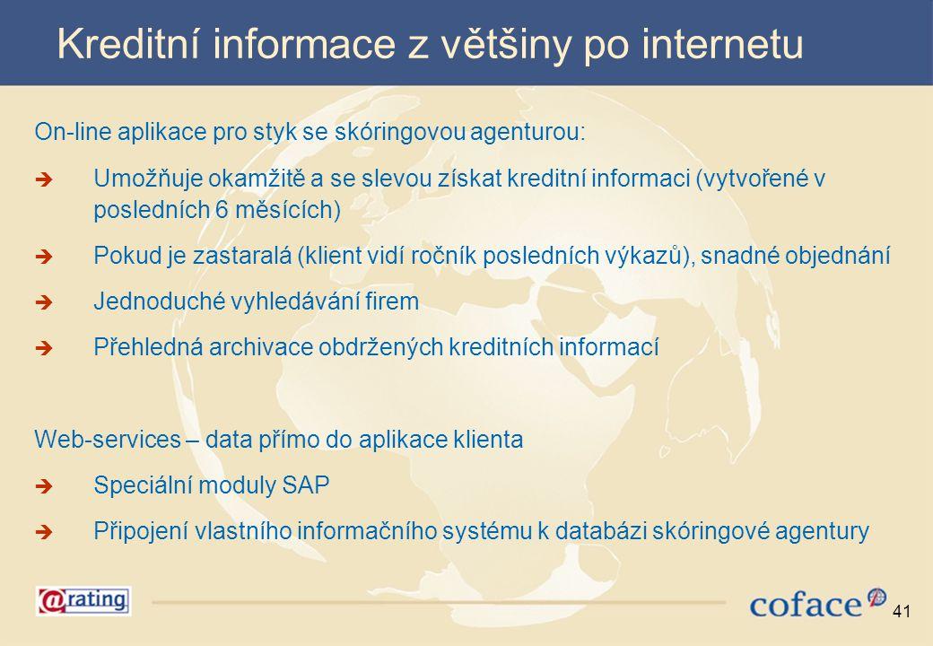 Kreditní informace z většiny po internetu