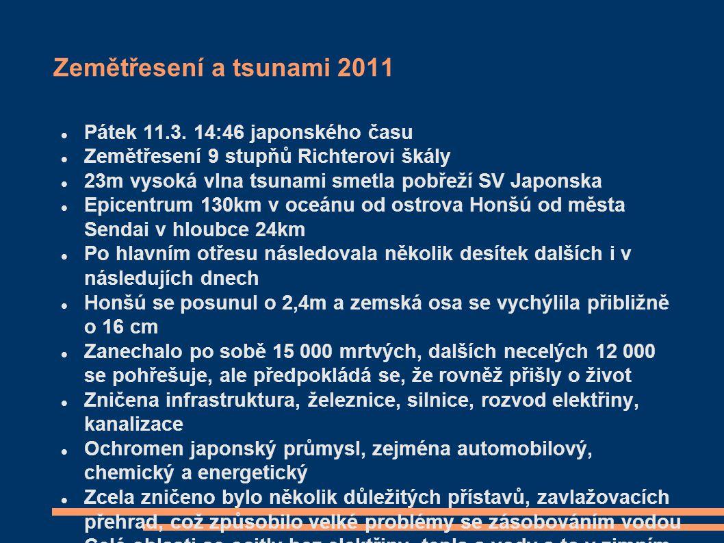 Zemětřesení a tsunami 2011 Pátek 11.3. 14:46 japonského času