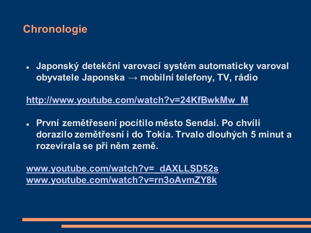 Chronologie Japonský detekční varovací systém automaticky varoval obyvatele Japonska → mobilní telefony, TV, rádio.
