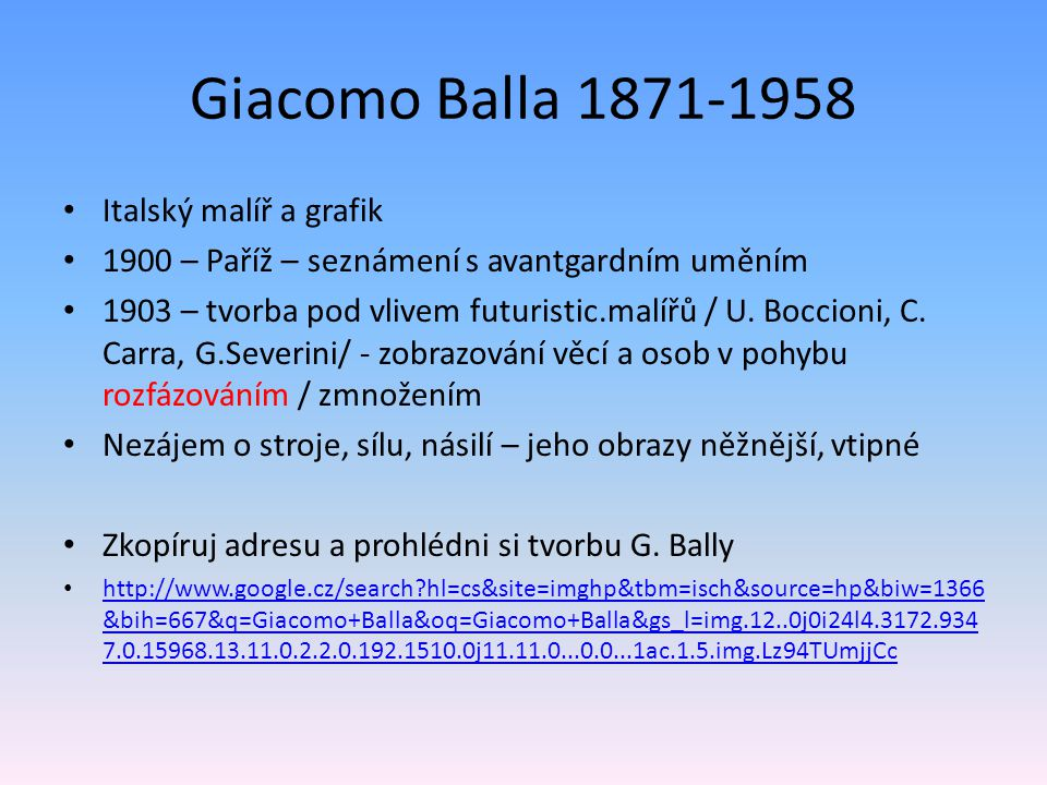 Giacomo Balla 1871-1958 Italský malíř a grafik
