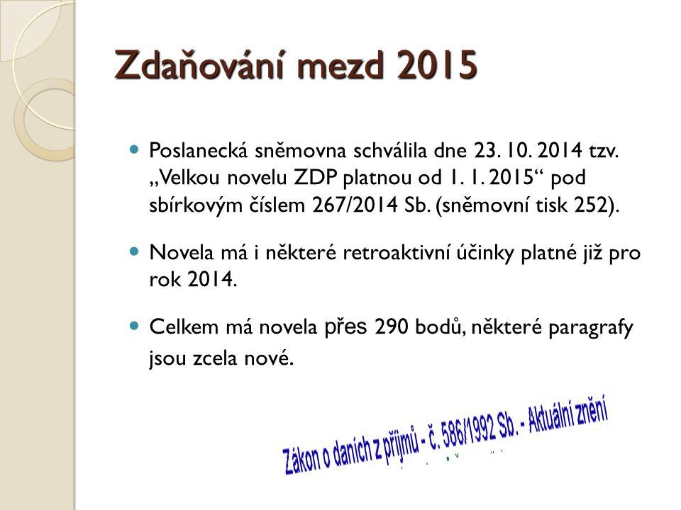 Zdaňování mezd 2015