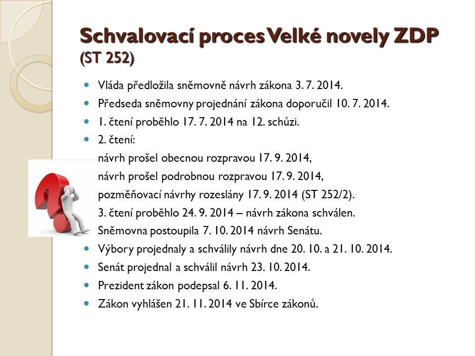 Schvalovací proces Velké novely ZDP (ST 252)