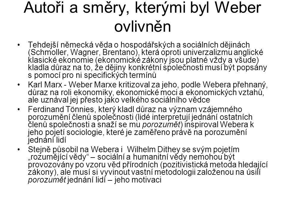 Autoři a směry, kterými byl Weber ovlivněn