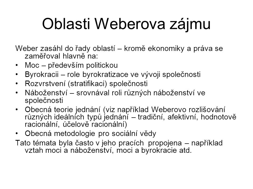Oblasti Weberova zájmu
