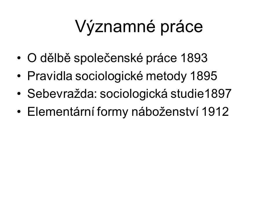 Významné práce O dělbě společenské práce 1893
