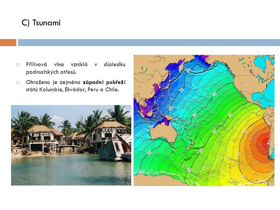 C) Tsunami Přílivová vlna vzniklá v důsledku podmořských otřesů.