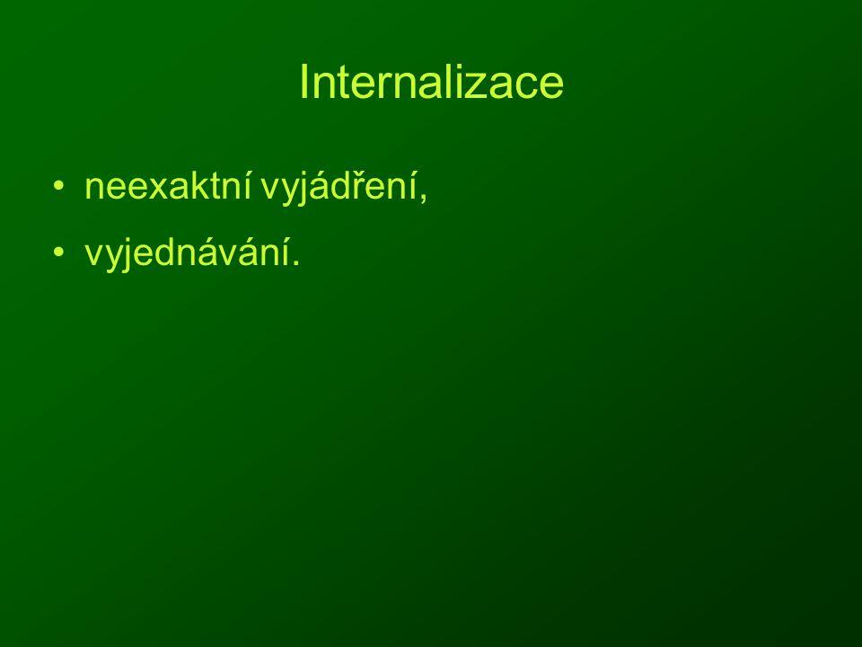 Internalizace neexaktní vyjádření, vyjednávání.
