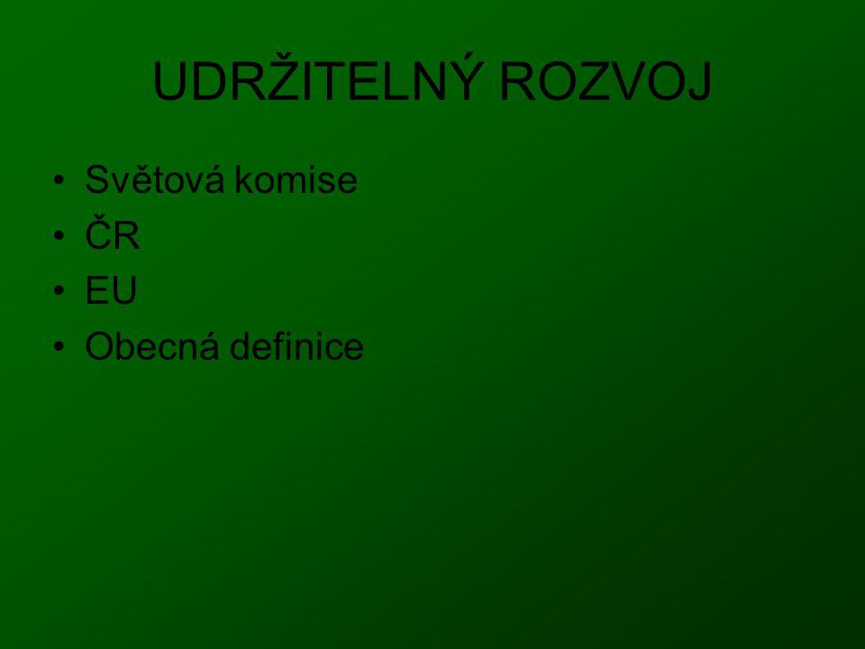 UDRŽITELNÝ ROZVOJ Světová komise ČR EU Obecná definice