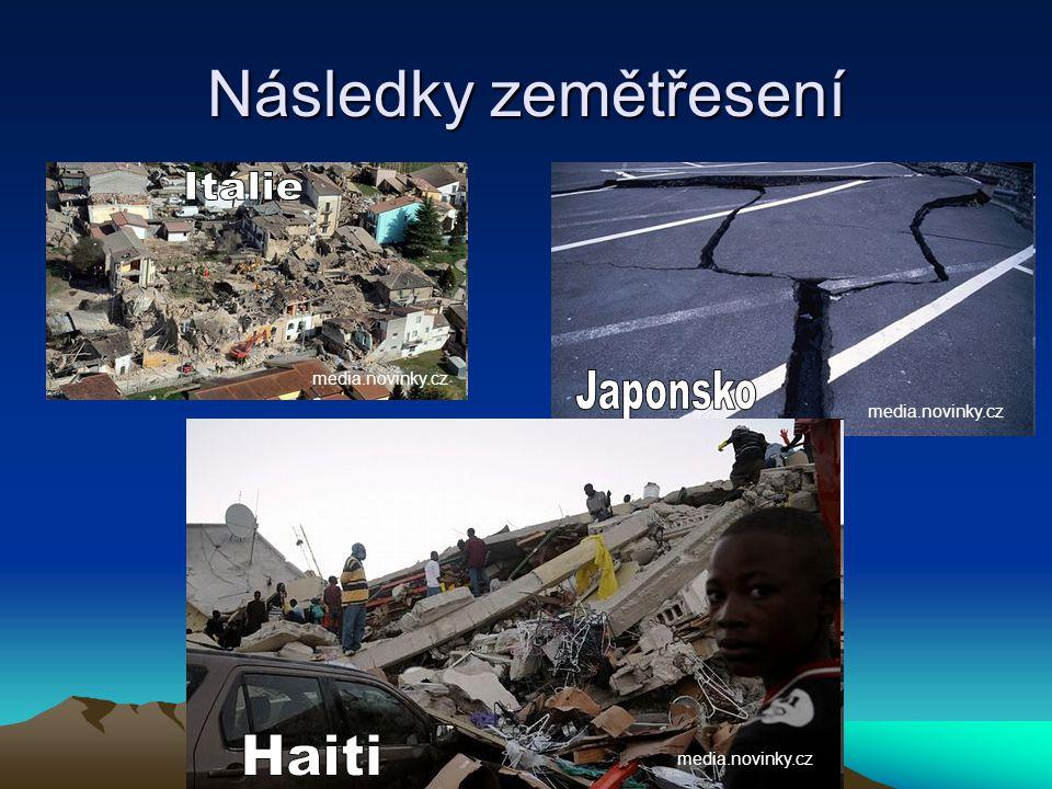 Následky zemětřesení Itálie Japonsko Haiti media.novinky.cz