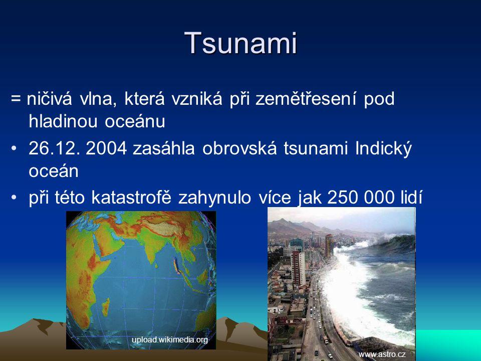 Tsunami = ničivá vlna, která vzniká při zemětřesení pod hladinou oceánu. 26.12. 2004 zasáhla obrovská tsunami Indický oceán.