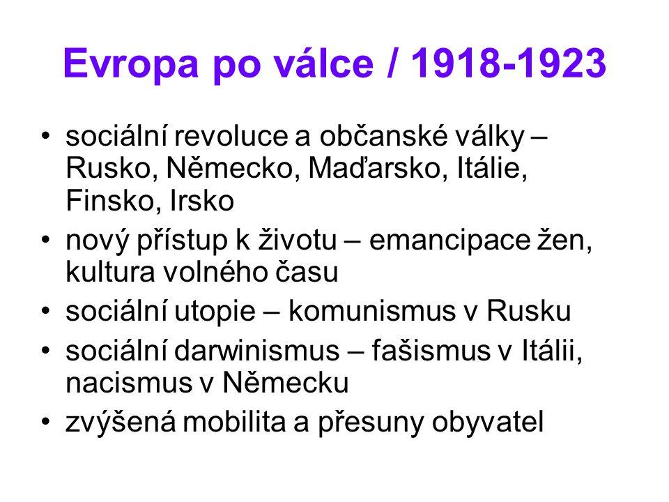 Evropa po válce / 1918-1923 sociální revoluce a občanské války – Rusko, Německo, Maďarsko, Itálie, Finsko, Irsko.