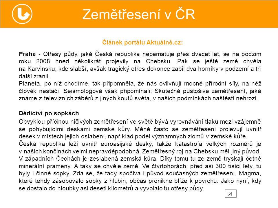 Zemětřesení v ČR Článek portálu Aktuálně.cz: