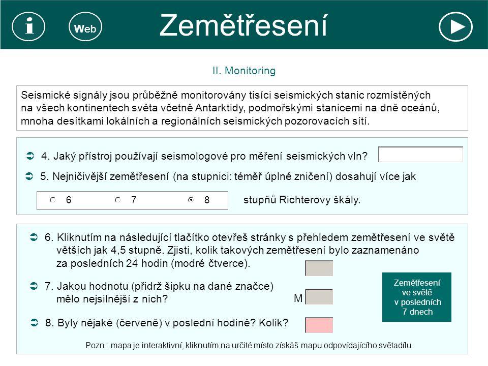 Zemětřesení i Web II. Monitoring