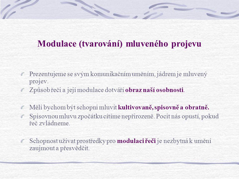 Modulace (tvarování) mluveného projevu