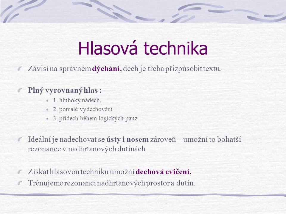 Hlasová technika Závisí na správném dýchání, dech je třeba přizpůsobit textu. Plný vyrovnaný hlas :