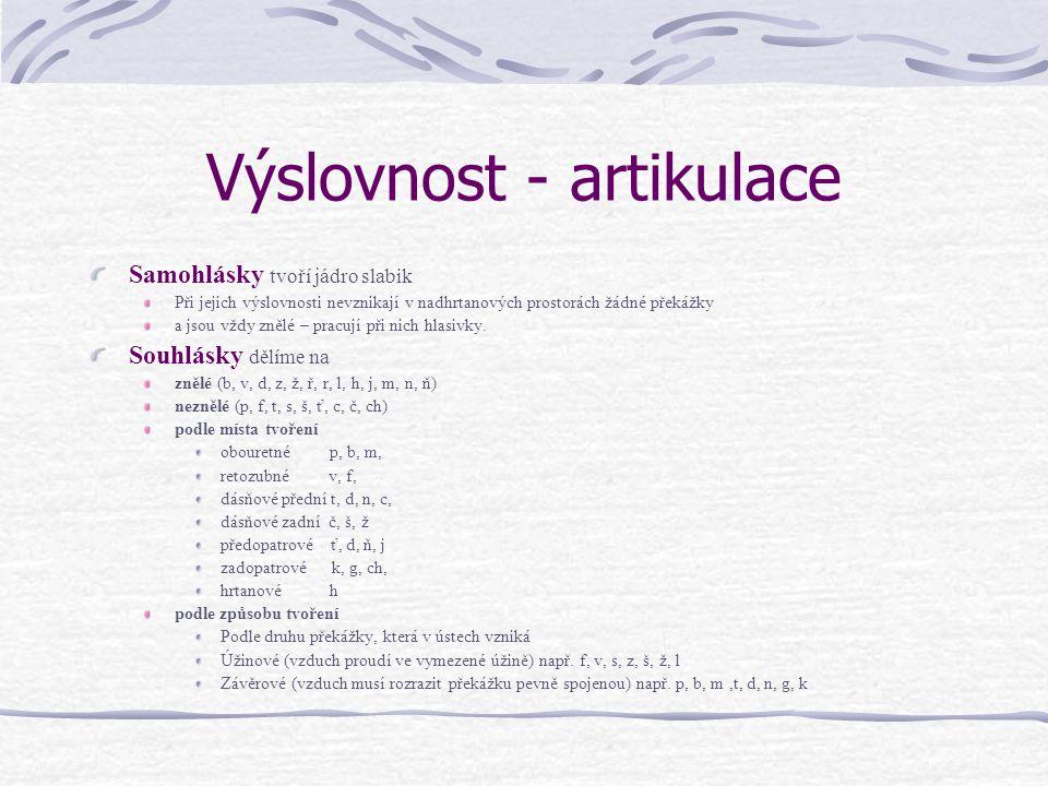 Výslovnost - artikulace