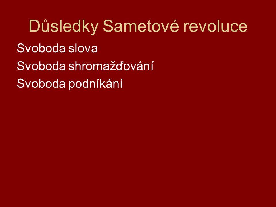 Důsledky Sametové revoluce