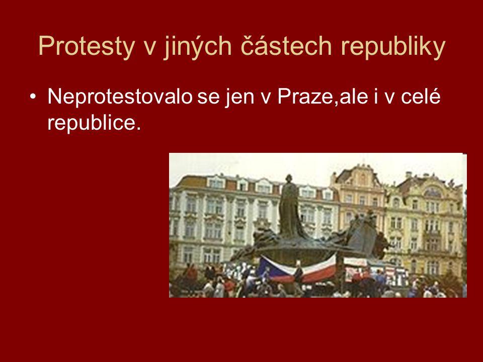 Protesty v jiných částech republiky