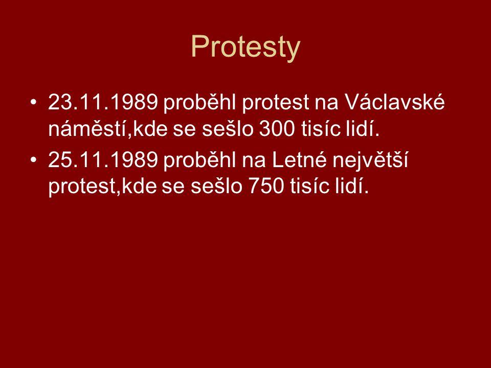 Protesty 23.11.1989 proběhl protest na Václavské náměstí,kde se sešlo 300 tisíc lidí.