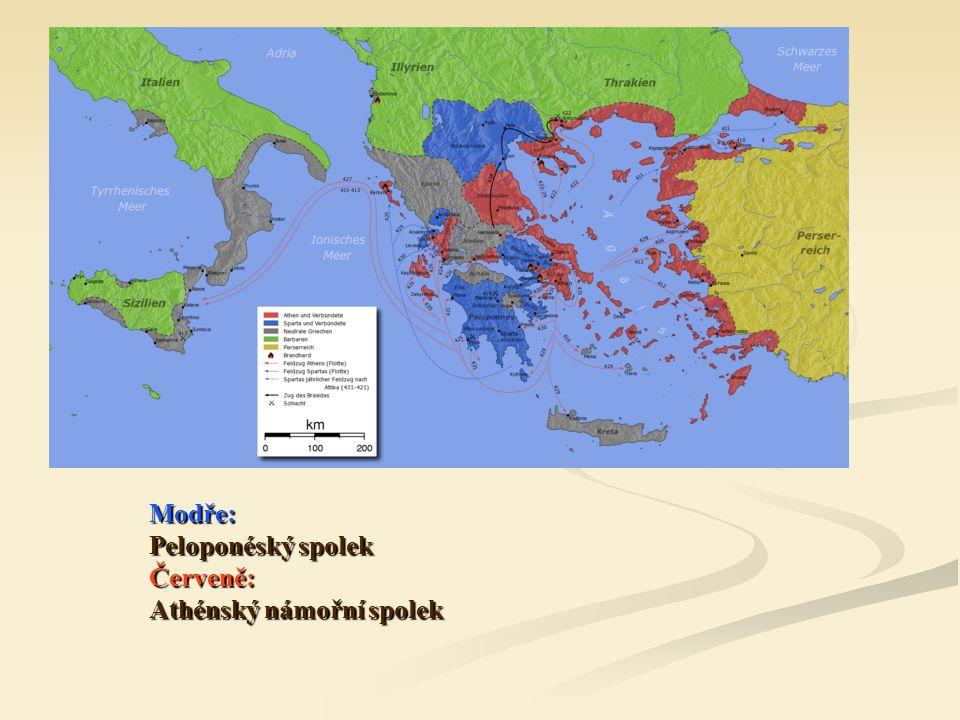 Modře: Peloponéský spolek Červeně: Athénský námořní spolek