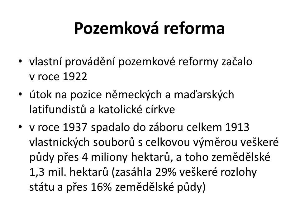 Pozemková reforma vlastní provádění pozemkové reformy začalo v roce 1922. útok na pozice německých a maďarských latifundistů a katolické církve.