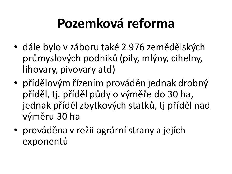 Pozemková reforma dále bylo v záboru také 2 976 zemědělských průmyslových podniků (pily, mlýny, cihelny, lihovary, pivovary atd)