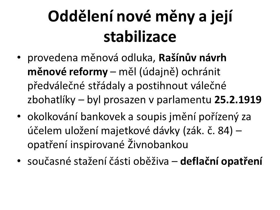 Oddělení nové měny a její stabilizace