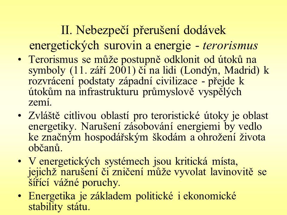 II. Nebezpečí přerušení dodávek energetických surovin a energie - terorismus