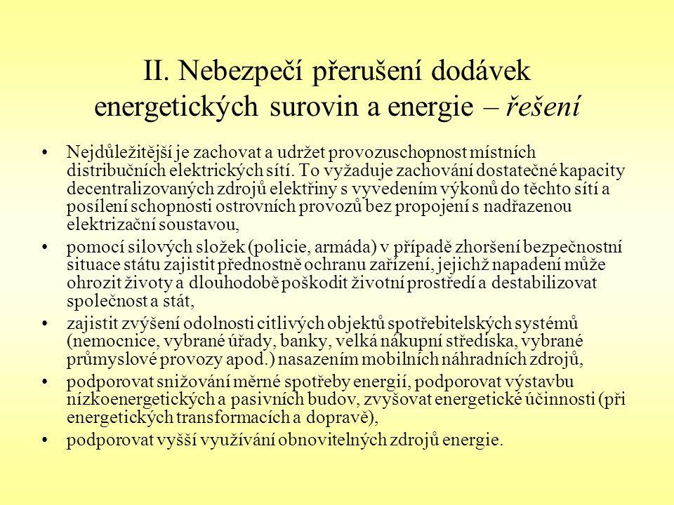 II. Nebezpečí přerušení dodávek energetických surovin a energie – řešení