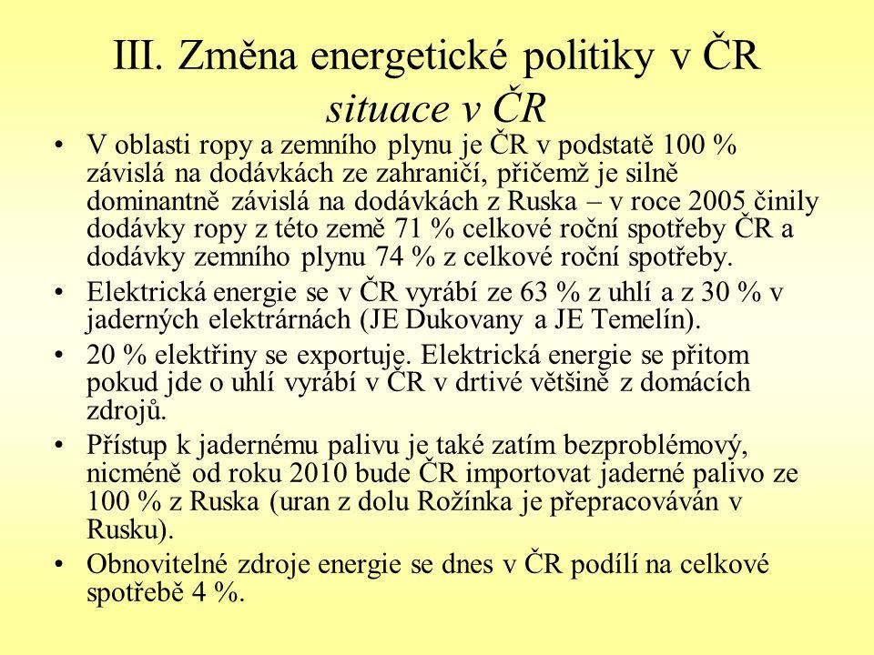 III. Změna energetické politiky v ČR situace v ČR