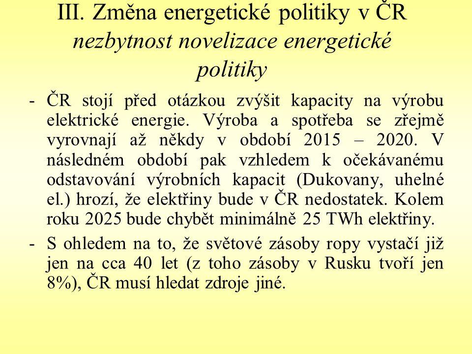III. Změna energetické politiky v ČR nezbytnost novelizace energetické politiky