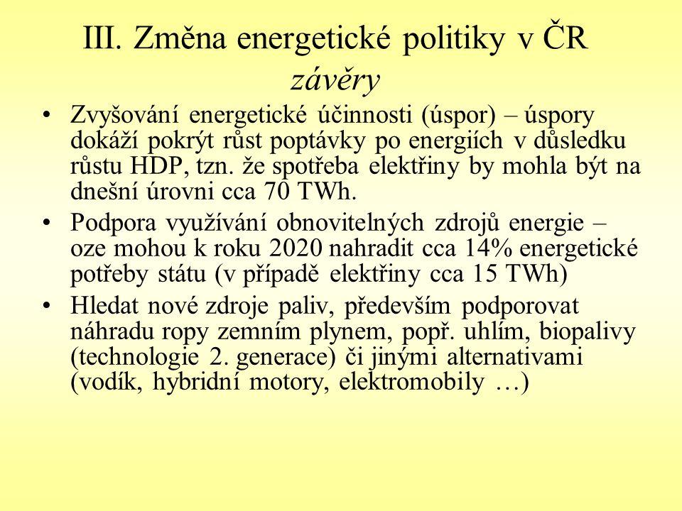 III. Změna energetické politiky v ČR závěry