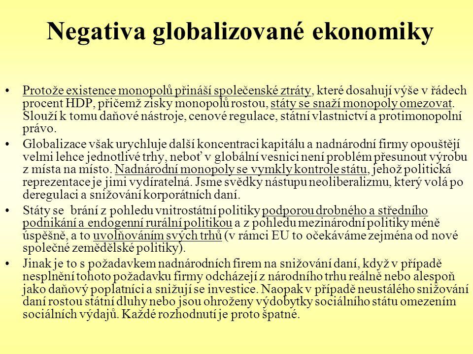 Negativa globalizované ekonomiky