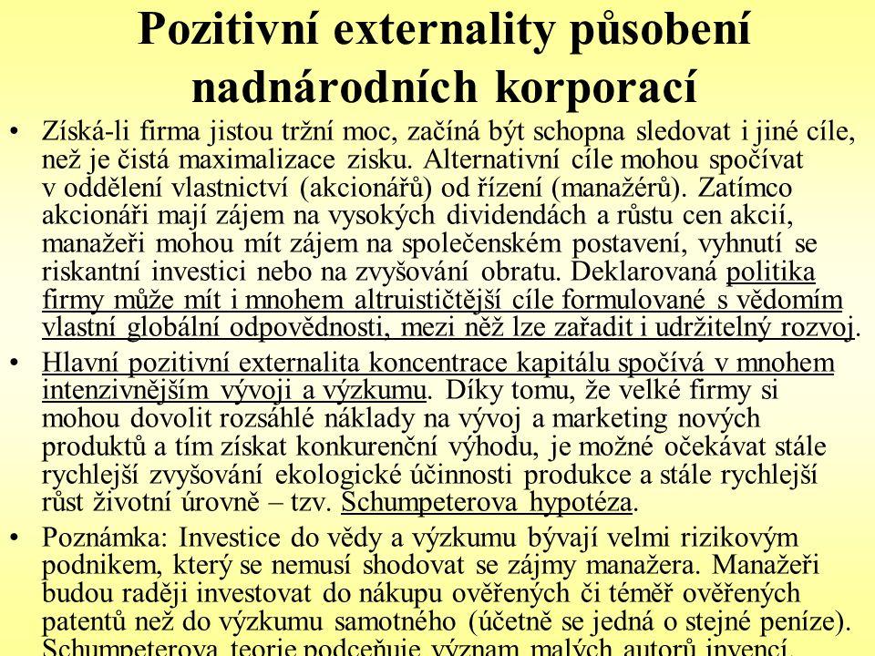 Pozitivní externality působení nadnárodních korporací