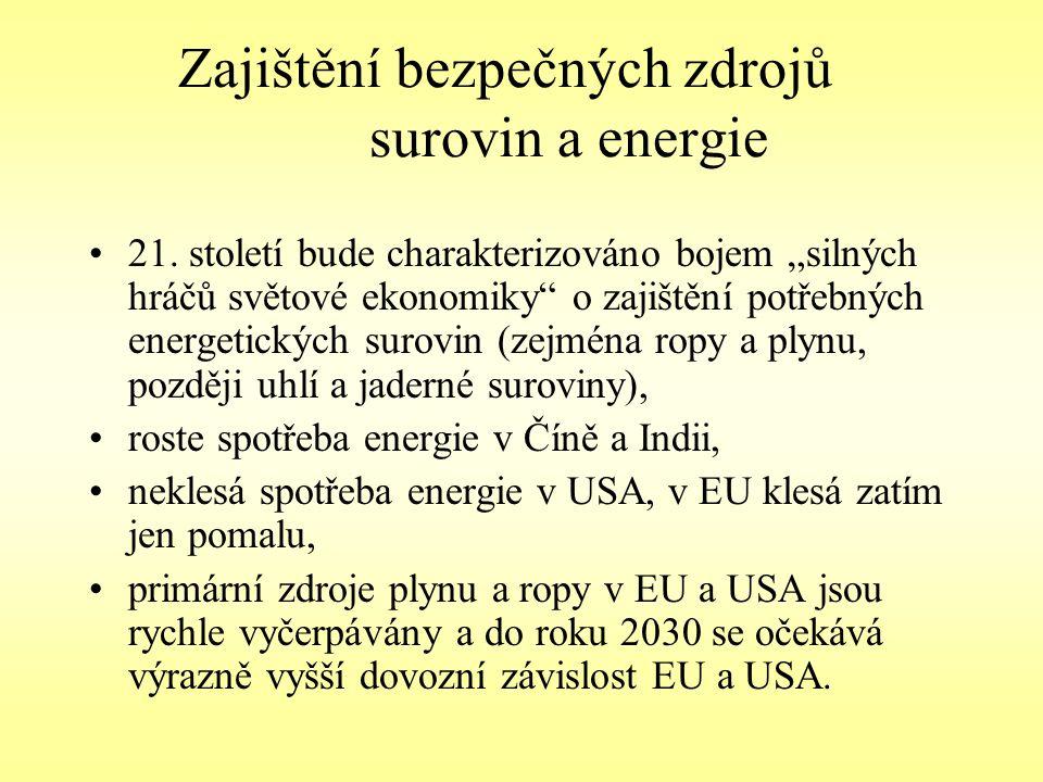 Zajištění bezpečných zdrojů surovin a energie