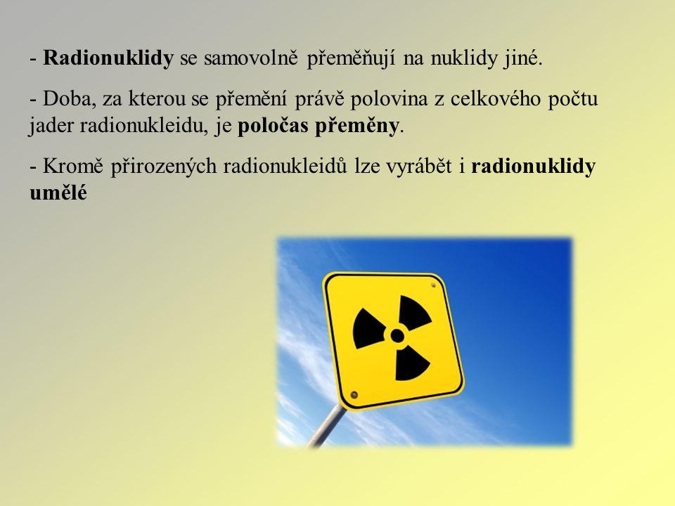 Radionuklidy se samovolně přeměňují na nuklidy jiné.