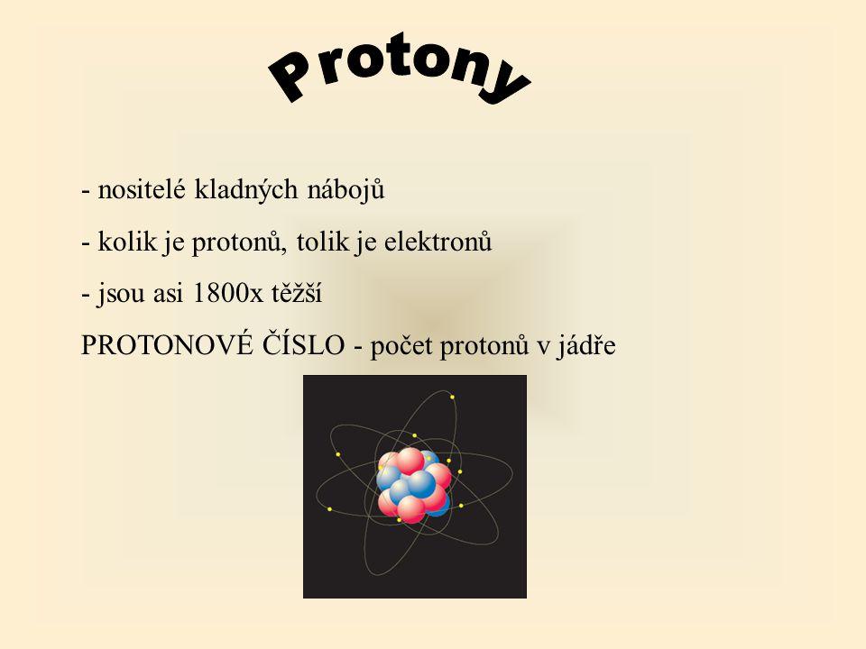 Protony - nositelé kladných nábojů