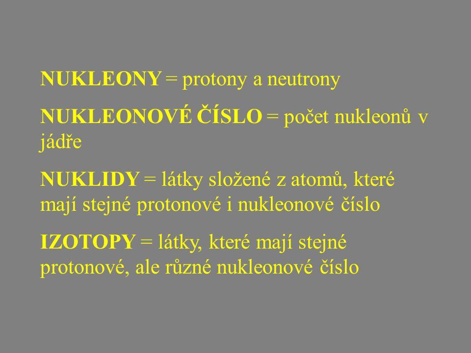 NUKLEONY = protony a neutrony