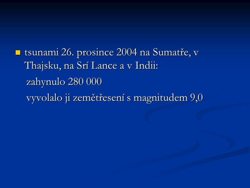 tsunami 26. prosince 2004 na Sumatře, v Thajsku, na Srí Lance a v Indii: