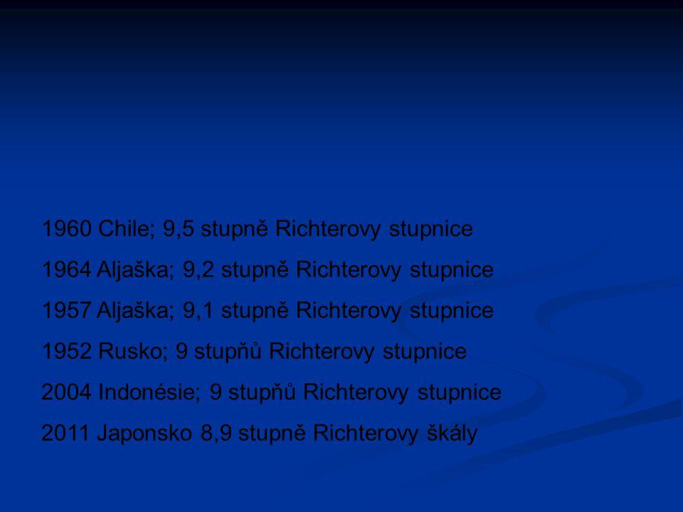 1960 Chile; 9,5 stupně Richterovy stupnice