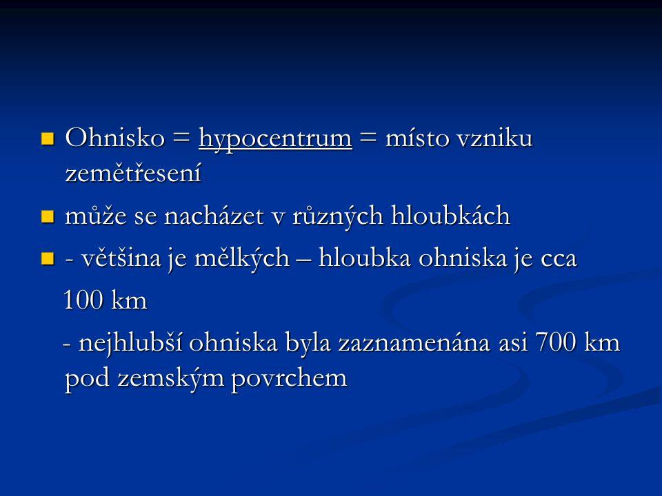 Ohnisko = hypocentrum = místo vzniku zemětřesení