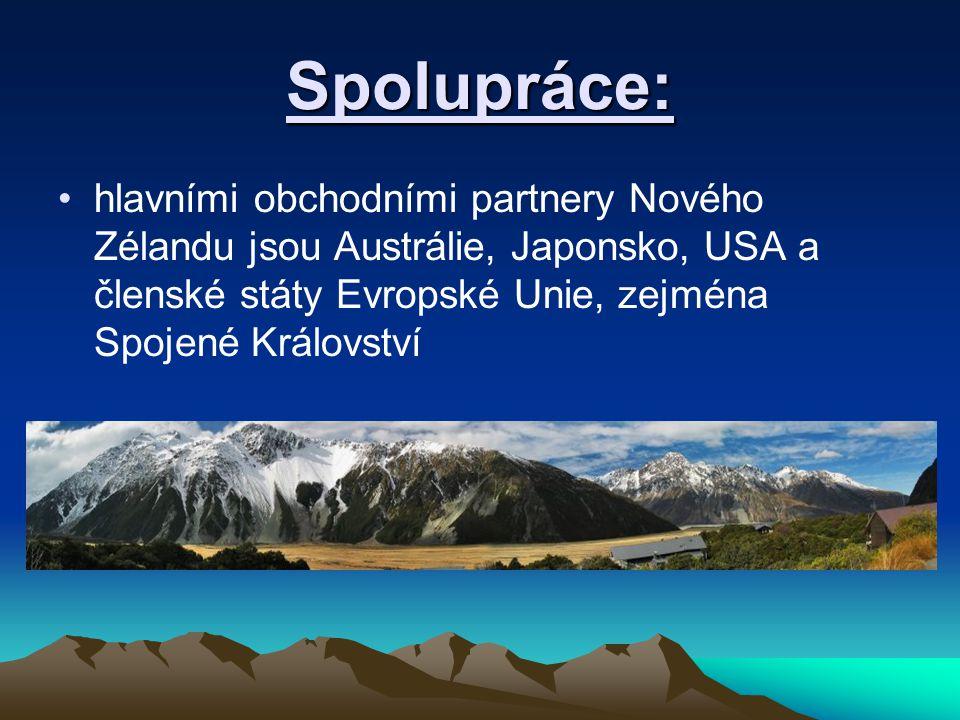 Spolupráce: hlavními obchodními partnery Nového Zélandu jsou Austrálie, Japonsko, USA a členské státy Evropské Unie, zejména Spojené Království.