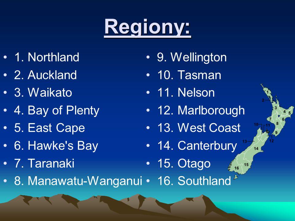 Regiony: 1. Northland 2. Auckland 3. Waikato 4. Bay of Plenty