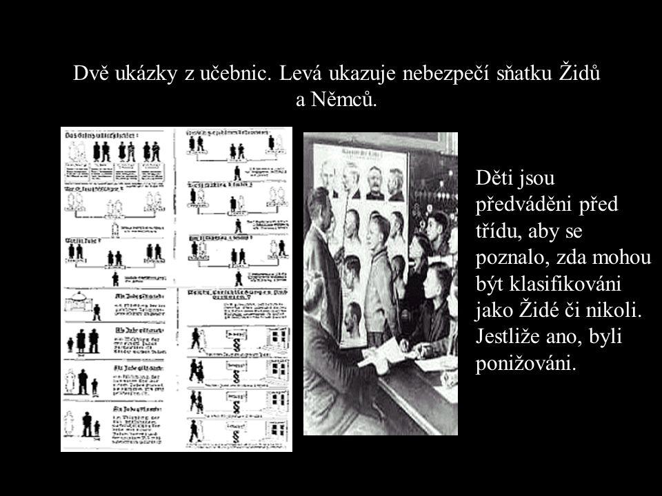 Dvě ukázky z učebnic. Levá ukazuje nebezpečí sňatku Židů a Němců.
